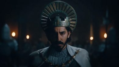 Photo of Dev Patel on poster and trailer for 'the Legend of the Green Knight', A24's new dark movie